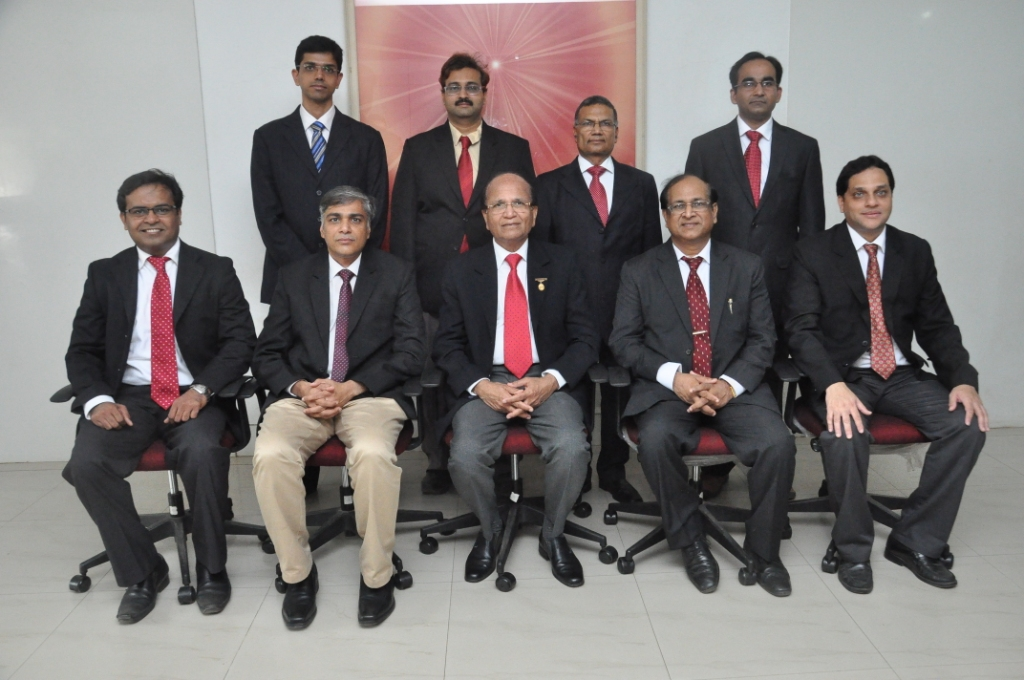 List of Full time Doctors From L to R sitting - Dr. Rajesh Valand - ENT Surgeon, Dr.Narayan Khandelwal - Medical Surpritendent & Joint Replacement Surgeon, Dr. Ashok Mehta - Medical Director and Consultant Cancer Surgeon, Dr. P K Jain -Chief Intensivist, Dr. Sameer Sahasrabuddhe - Sports Medicine Consultant, standing - Dr. Amit Patel Physician, Dr. Jigar Desai - Radiologist, Dr. Surendra Seth - Staff  Physician, Dr. Parit Ladhani - Director of Swiss Cleft Centre,